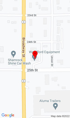 Google Map of Woodford Equipment, Inc 2107 25 St, Emmetsburg, IA, 50536