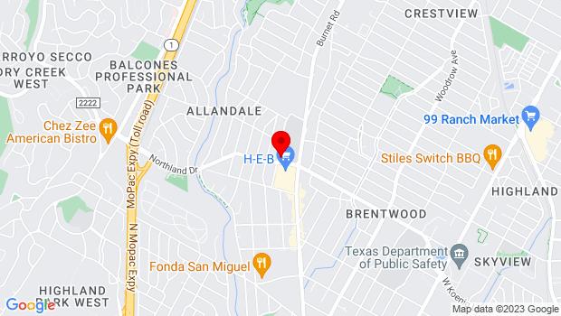 Google Map of 2140 Allandale Rd, Austin, TX 78756