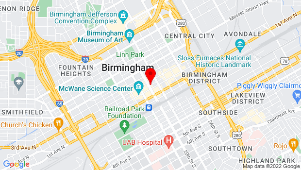 Google Map of 215 20th St. N, Birmingham, AL 35203