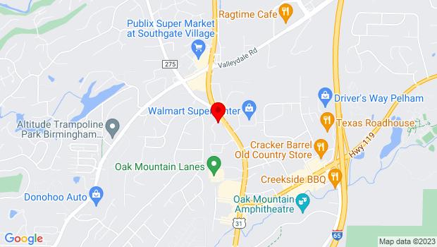 Google Map of 2152-A Pelham Parkway, Pelham, AL 35124