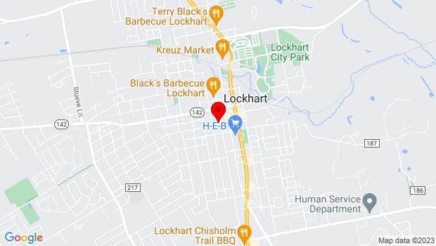 Google Map of 217 S. Main St., Lockhart, TX 78644