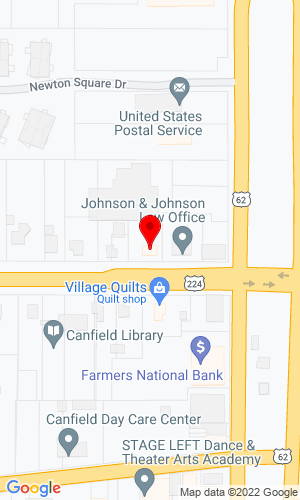 Google Map of George Roman Auctioneers, Ltd.  22 W. Main Street, Canfield, OH, 44406