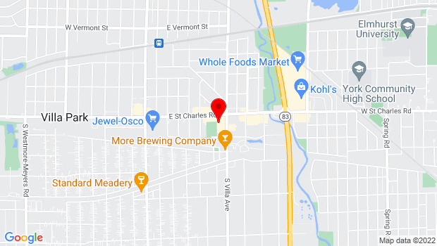 Google Map of 22 S Villa Ave, Elmhurst, IL 60126
