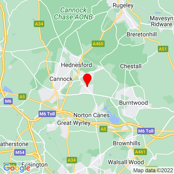 Google Map of 22 avenue road, cannock