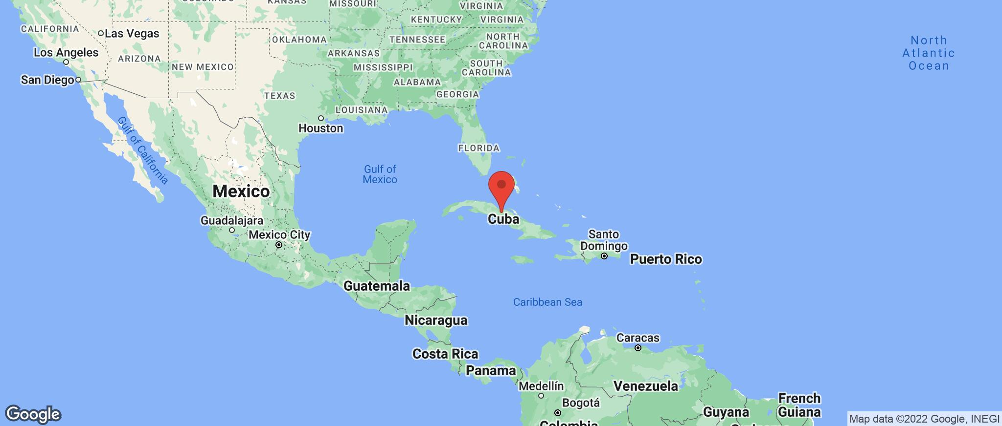 Map showing the location of Cuba