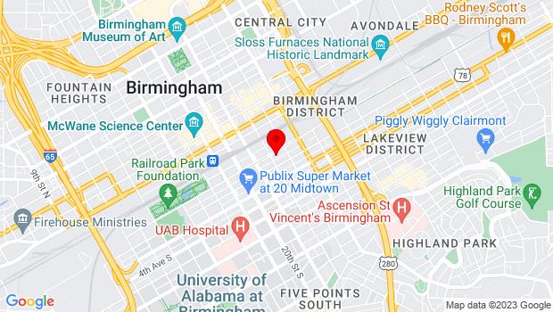 Google Map of 2201 1st Avenue N, Birmingham, AL 35203