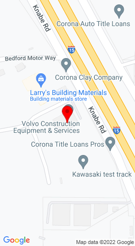 Google Map of Volvo Construction Equipment & Services 22099 Knabe Rd., Corona, CA, 92883