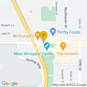 Map to Mary Winspear Centre ( Sidney B.C. ) provided by Google