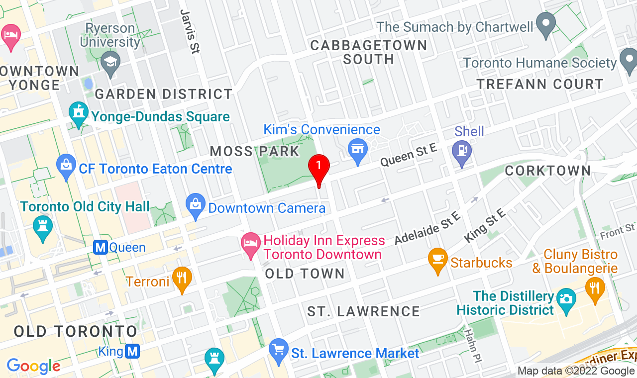 Google Map of 225 Queen St E, Toronto, ON