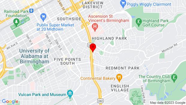 Google Map of 2251 Highland Ave S, Birmingham, AL 35205