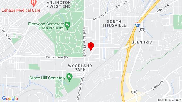 Google Map of 228 Dennison Avenue SW, Birmingham, AL 35211