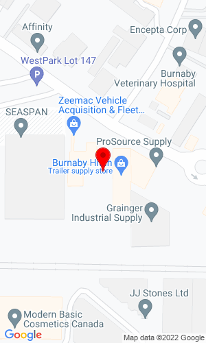 Google Map of Burnaby Hitch 2315 Douglas Road, Burnaby, British Columbia, Canada, V5C 5A9