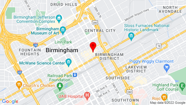 Google Map of 2320 Second Ave. N., Birmingham, AL 35203