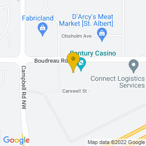 Map to Century Casino - St. Albert provided by Google