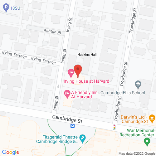 Map of the area around Irving House at Harvard