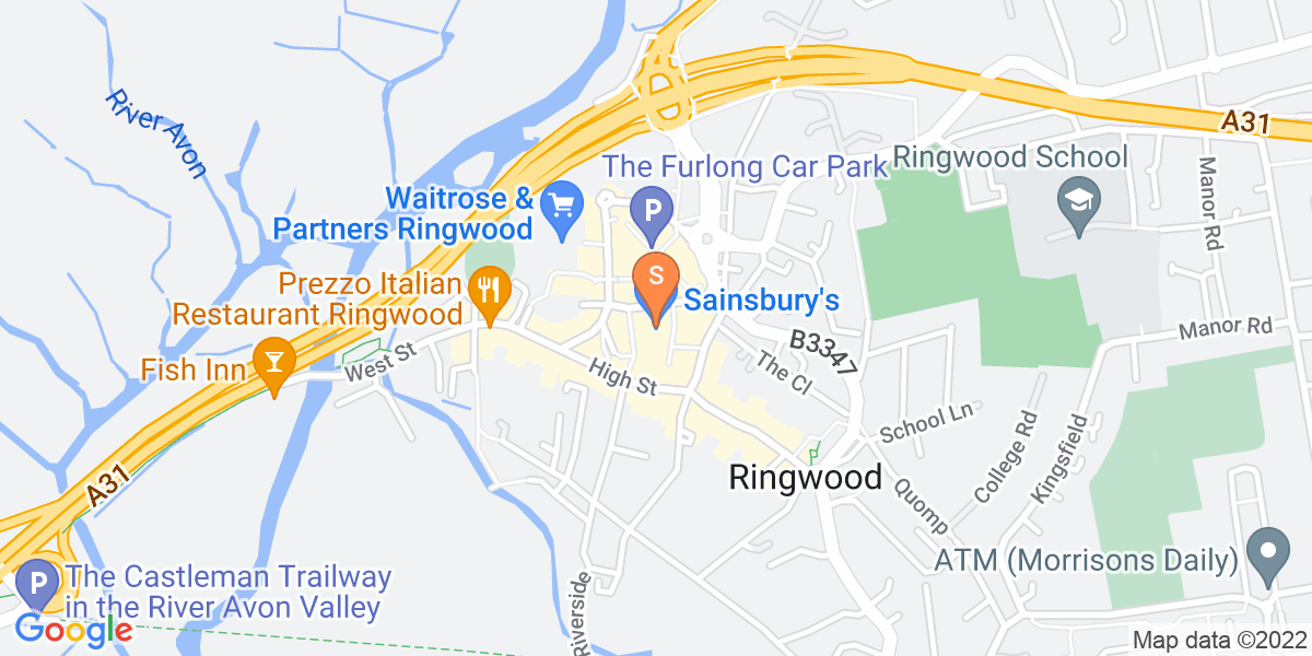 Google Map of 24 Meeting House Lane Ringwood BH24 1EY