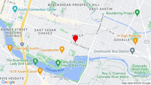 Google Map of 2400 East Cesar Chavez Street, Austin, TX 78702