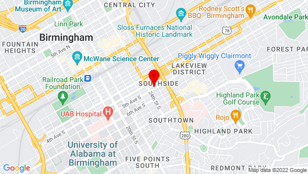 Google Map of 2420 5th Avenue South, Birmingham, AL 35233