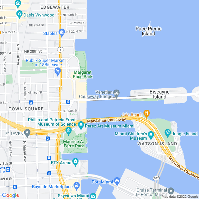 Map of Venetian Causeway Bridge