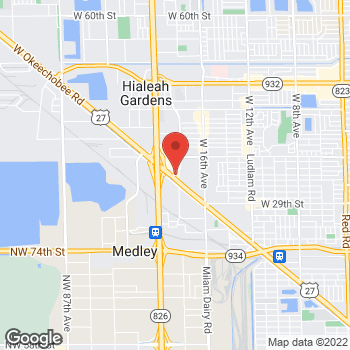 Map of Arby's at 3333 W Okeechobee Rd, Hialeah, FL 33012
