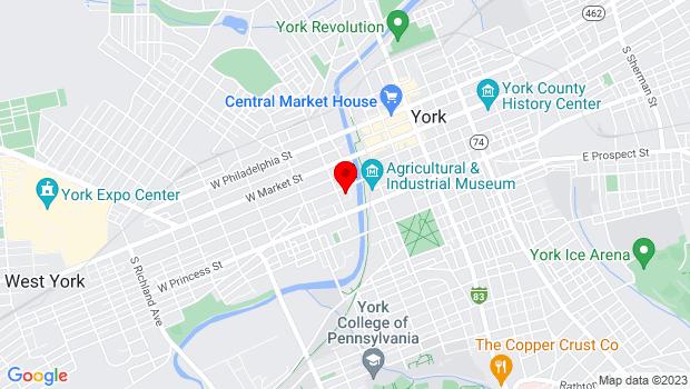 Google Map of 250 West King Street, York, PA 17401