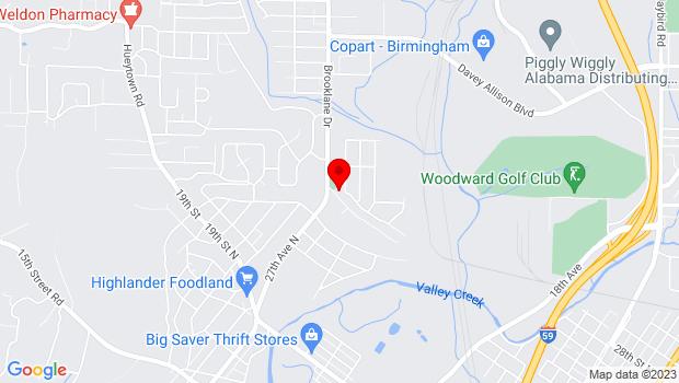 Google Map of 2501 Brooklane Dr, Bessemer, AL 35023