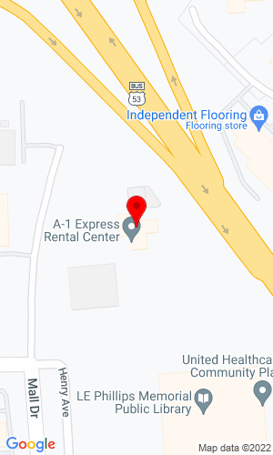 Google Map of A-1 Express Rental Center 2515 Mall Drive, Eau Claire, WA, 54701