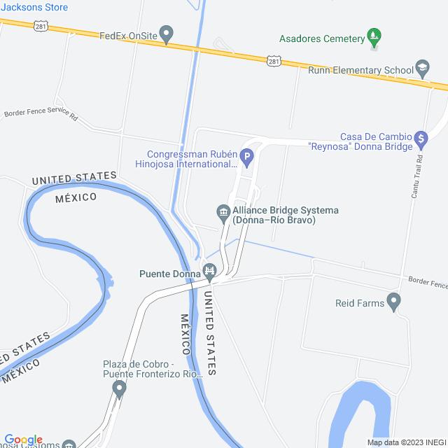 Map of Donna Rio Bravo International Bridge