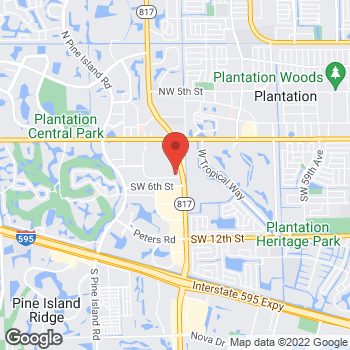 Map of Brio Italian Grille at 499 South University Drive, Plantation, FL 33324