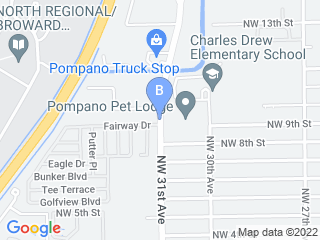 Map of Pompano Pet Lodge Dog Boarding options in Pompano Beach | Boarding