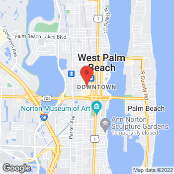 Map of Brio Italian Grille at 550 S. Rosemary Ave, West Palm, FL 33401