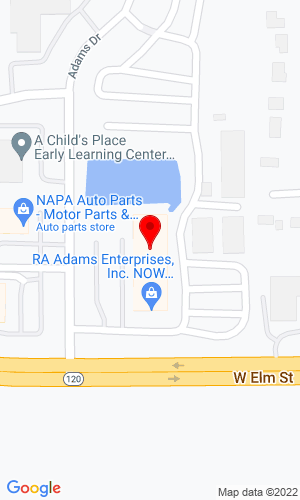 Google Map of RA Adams  2600 W Route 120, McHenry, IL, 60051