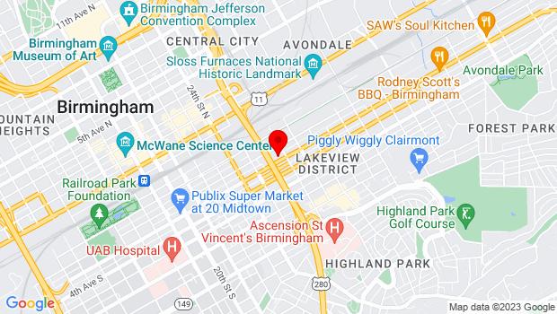 Google Map of 2616 3rd Avenue South, Birmingham, AL 35223