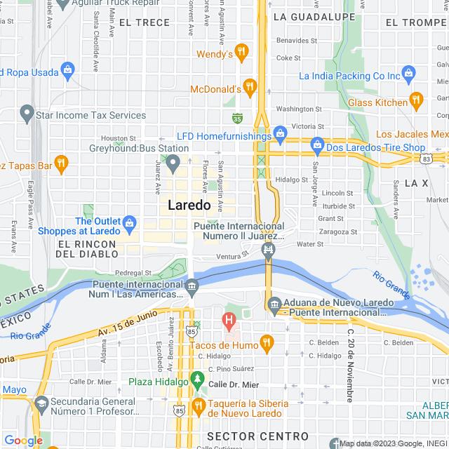Map of Juarez-Lincoln International Bridge
