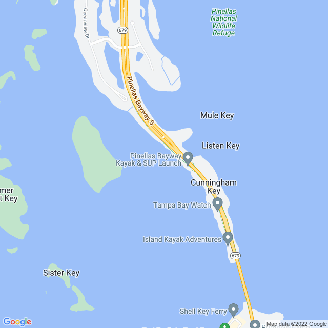 Map of Pinellas Bayway Bridge