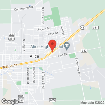Map of Taco Bell at 1250 E. Main, Alice, TX 78332