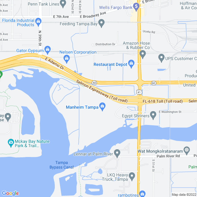 Map of Lee Roy Selmon (SR 618) Expressway