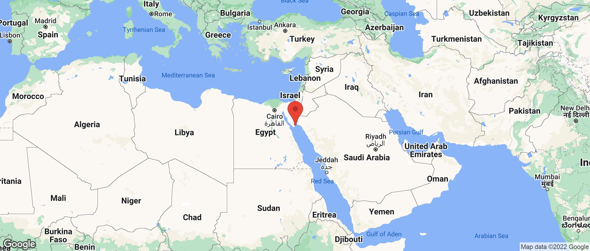 Map showing the location of Sharm El Sheikh