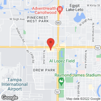 Map of Guitar Center Lessons at 3914 W Hillsborough Ave, Tampa, FL 33614