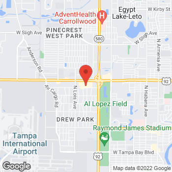 Map of Guitar Center at 3914 W Hillsborough Ave, Tampa, FL 33614