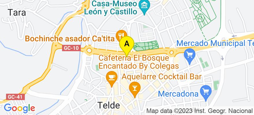 situacion en el mapa de . Direccion: Avda. del Cabildo, 56 - 1º E, 35200 Telde. Las Palmas