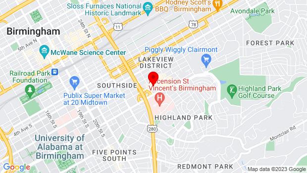 Google Map of 2709 7th Ave S, Birmingham, AL  35233
