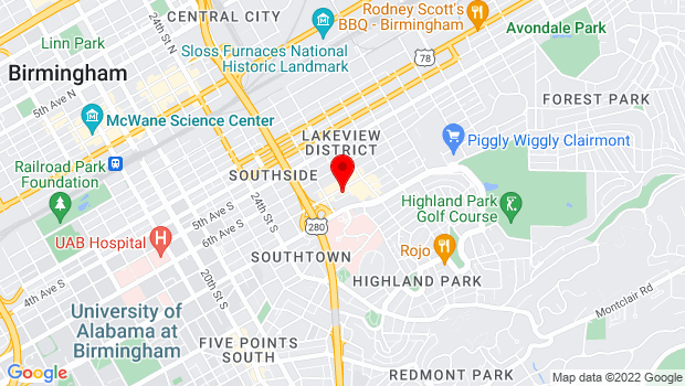 Google Map of 2717 Seventh Ave South, Birmingham, AL 35222