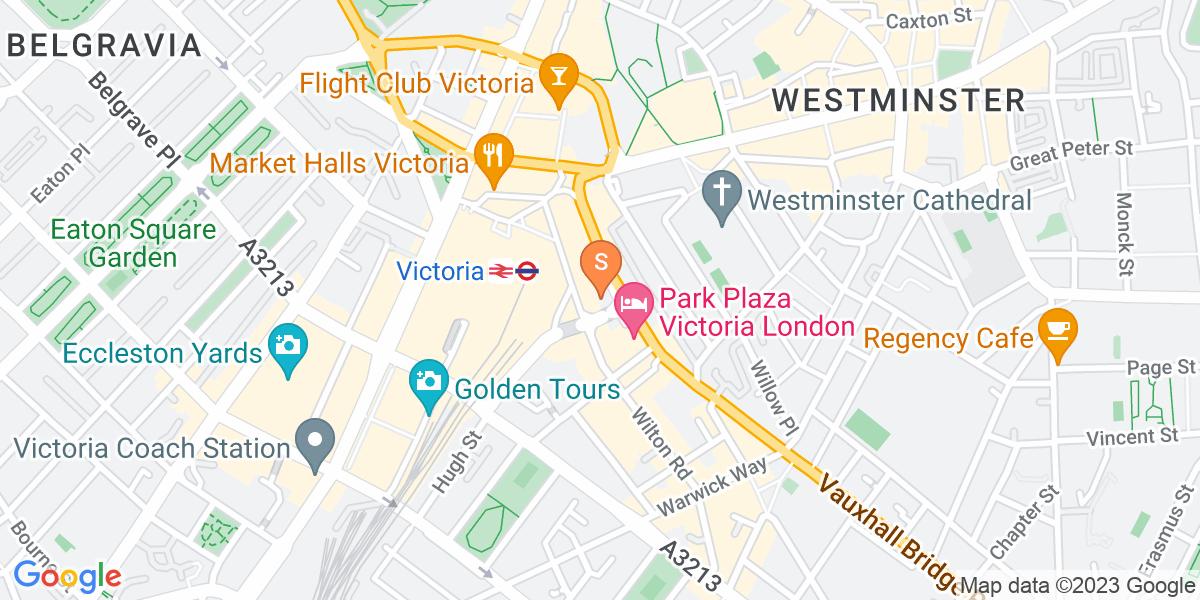 Google Map of 279 Vauxhall Bridge RoadVictoria London SW1V 1EJ
