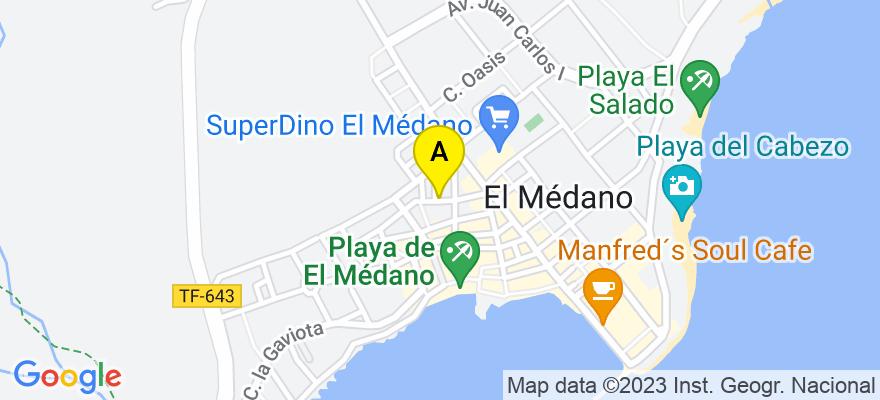 situacion en el mapa de . Direccion: C./ Teobaldo Power Nº 7, 2º Derecha. El Médano, 38612 Granadilla de Abona. Santa Cruz de Tenerife