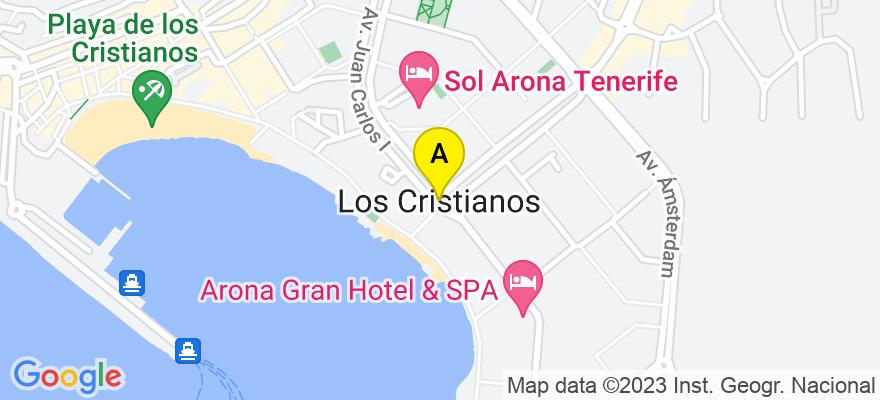 situacion en el mapa de . Direccion: Edf. Valdés Center. Torre A - Local B14. Los Cristianos, 38650 Arona. Santa Cruz de Tenerife