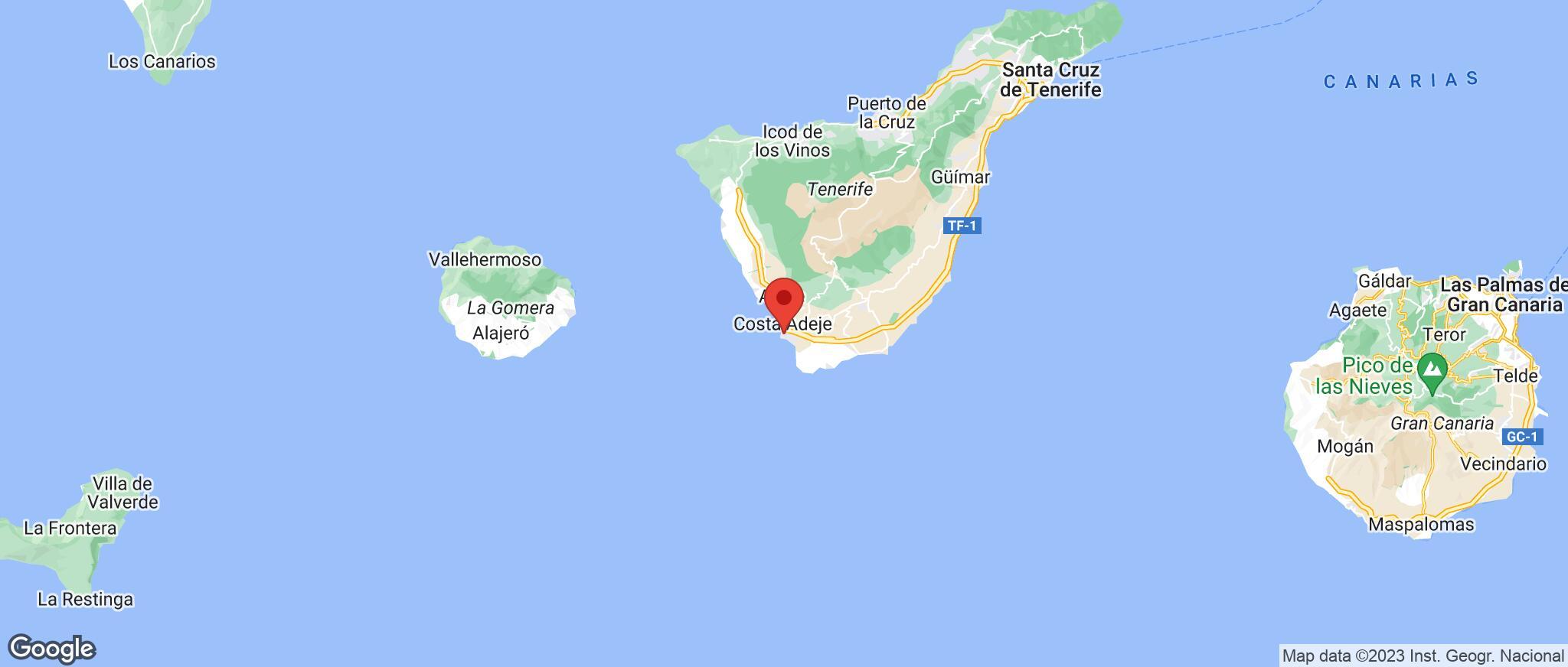 Map showing the location of Playa De Las Americas