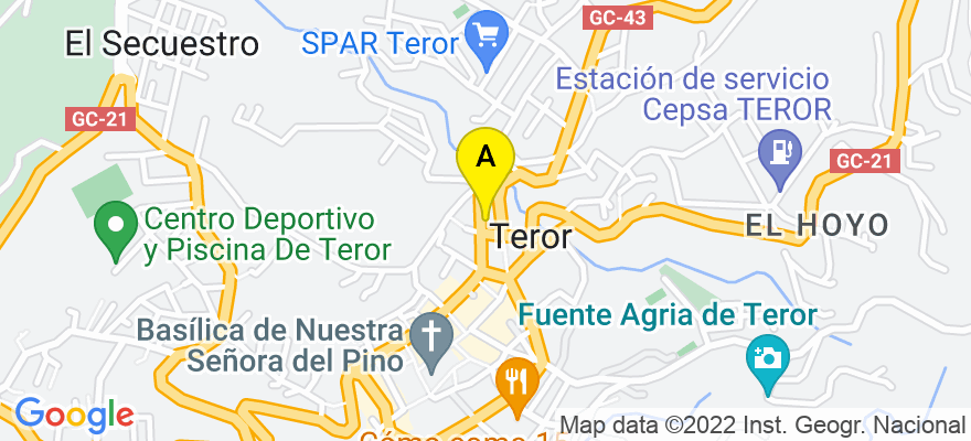 situacion en el mapa de . Direccion: c/ Párroco Juan González nº 18, 35330 Teror. Las Palmas