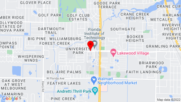 Google Map of 150 W. University Blvd, Melbourne, FL 32901
