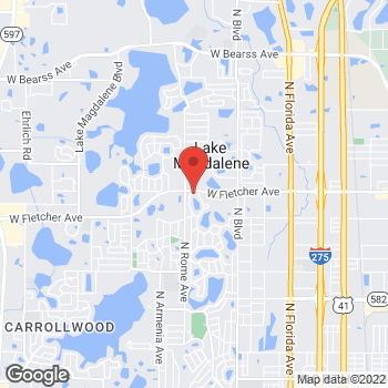 Map of Mark Tran, MD at 1402 W. Fletcher Ave., Tampa, FL 33612